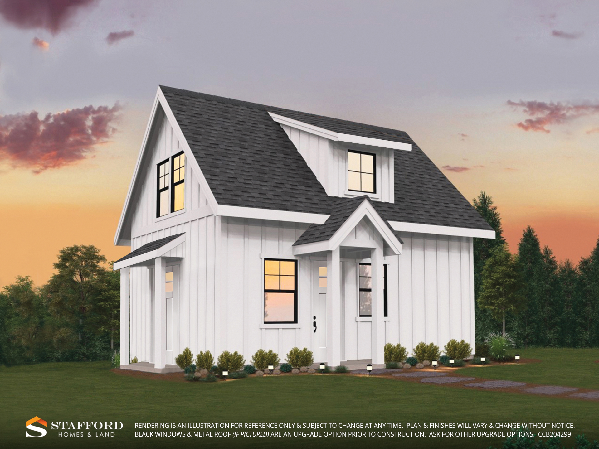 Remder of Berd Barn, farm inspired home in Pringle Creek color white.
