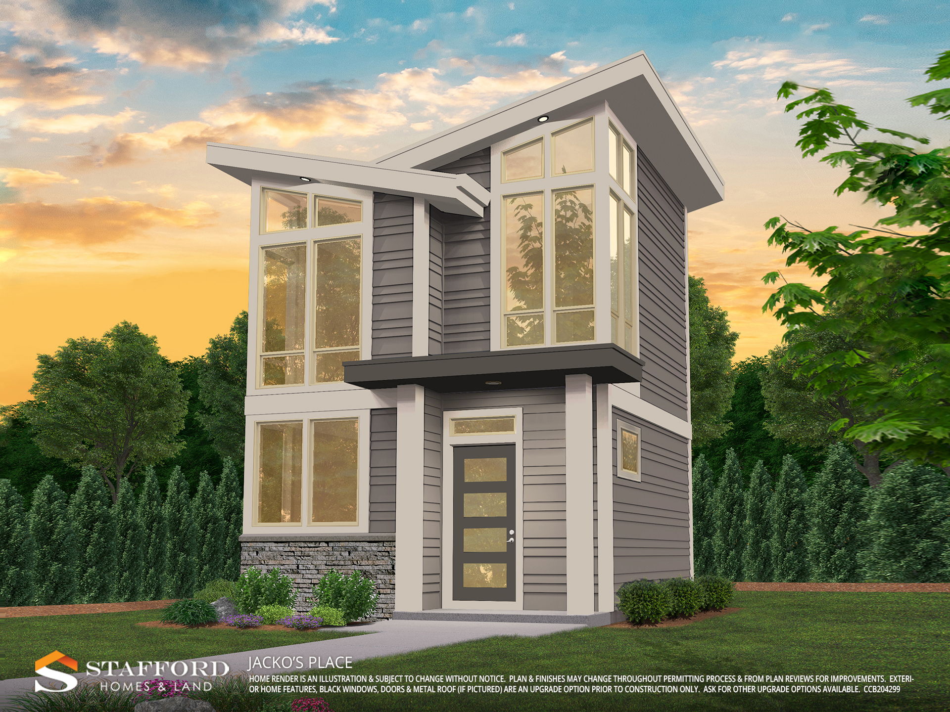 Render of Jacko's Place home in Pringle Creek color gray