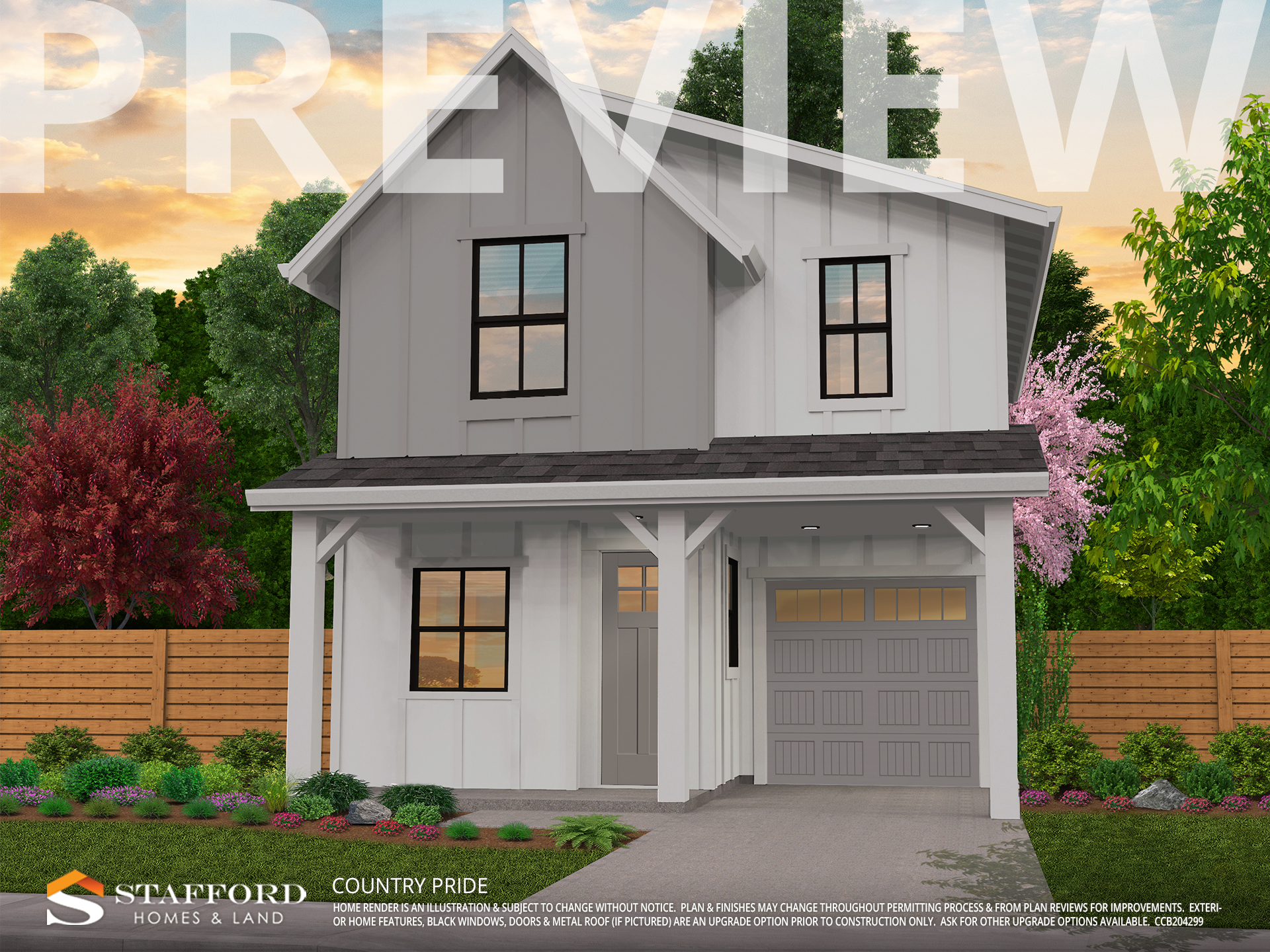 Render preview of Country Pride home in Pringle Creek Salem color white and gray